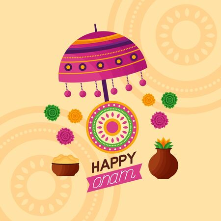 flowers coconut happy onam festival celebration decoration vector illustration