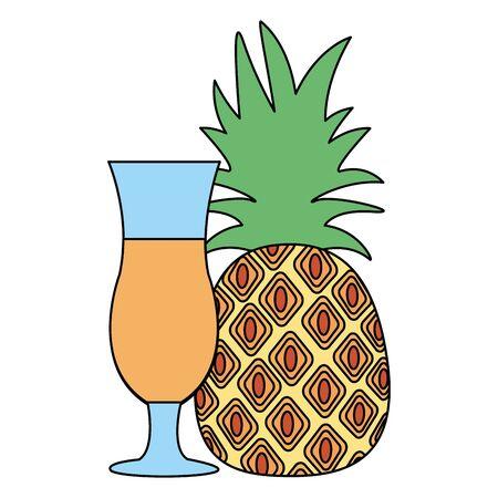 pineapple juice tropical fruit fresh vector illustration Ilustração