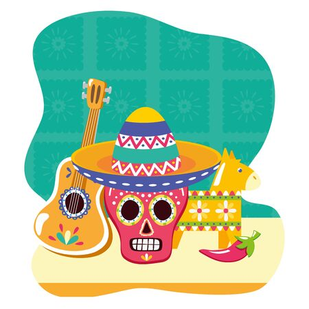 day of the dead skull mask with guitar and pinata vector illustration design Illustration