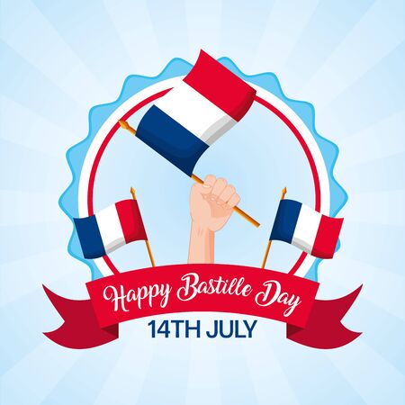 hand with flags france symbol happy bastille day vector illustration