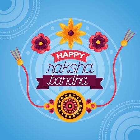 happy raksha bandhan sacred rakhi flowers vector illustration