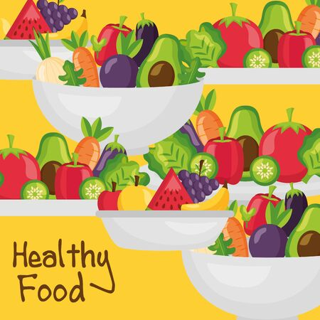 Healthy and organic food design, Fresh natural market product quality and eco theme Vector illustration Stock Vector - 130530806