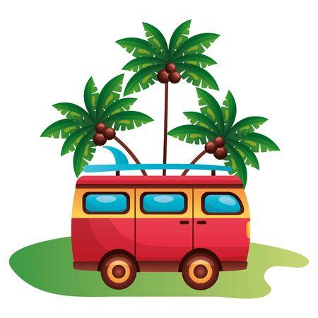 summer time holiday van car palm trees beach  vector illustration