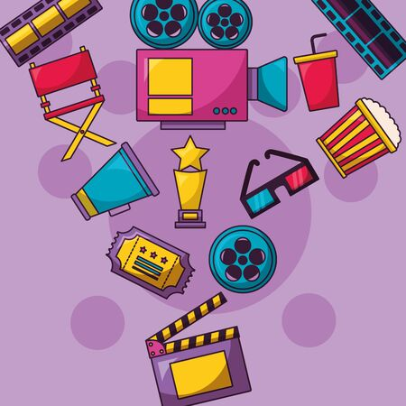 clapboard camera award glasses ticket cinema movie vector illustration