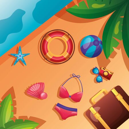 summer time holiday top view bikini bag lifebuoy ball camera sunglasses sea sand leaves vector illustration