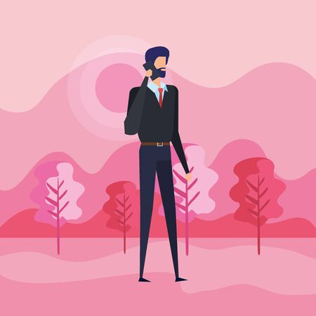 businessman with smartphone technology and elegant clothes to office success, vector illustration