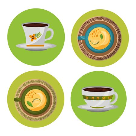 Tea cups design, Drink breakfast beverage tradition kitchen and aromatic theme Vector illustration