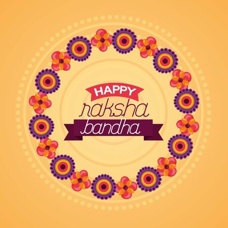 happy raksha bandhan flowers celebrate day vector illustration Banco de Imagens - 130530957
