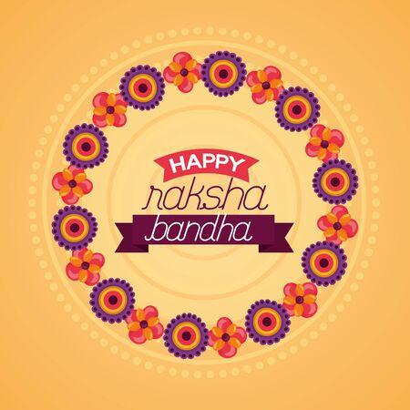 happy raksha bandhan flowers celebrate day vector illustration