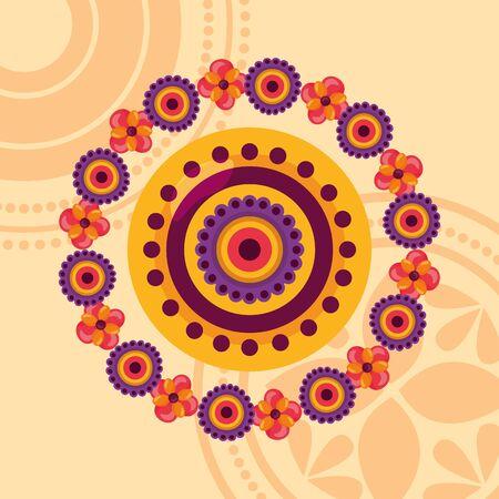 raksha bandhan flowers rakhi decoration vector illustration