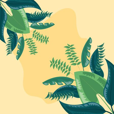 exotic foliage background tropical leaves vector illustration