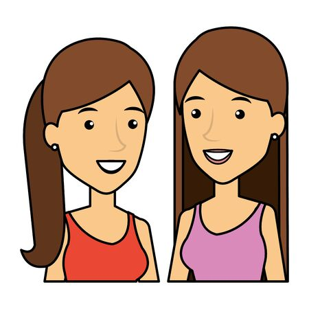 young girls friends avatars characters vector illustration design Ilustrace
