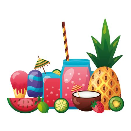 summer time holiday pineapple coconut cockatil lime  vector illustration