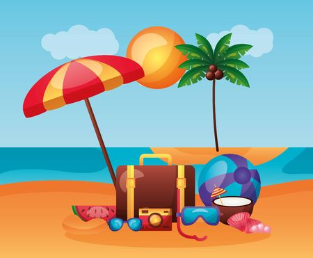summer time holiday beach umbrella suitcase snorkel coconuy camera ball vector illustration