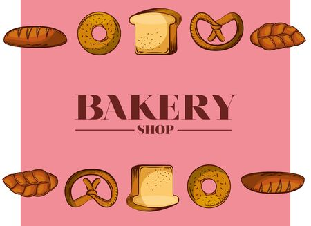 Bread types design, Bakery food shop traditional quality style and breakfast theme Vector illustration Çizim