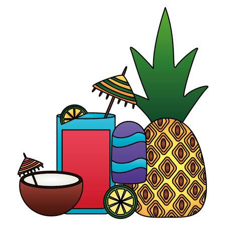 summer time holiday pineapple coconut  lime vector illustration Иллюстрация