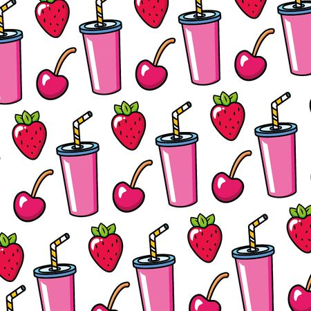 strawberry cherry soda with straw pop art elements vector illustration Иллюстрация
