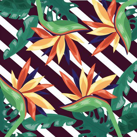 flowers tropical leaves foliage stripes dark background vector illustration