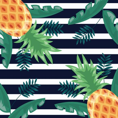 flowers tropical leaves fruits pineapple stripes dark background vector illustration Ilustrace
