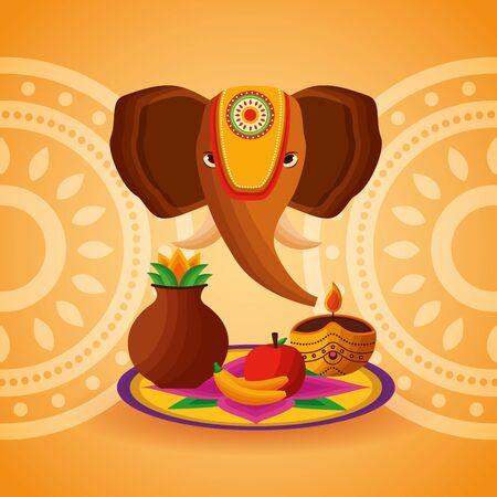elephant fruits onam festival celebration day vector illustration
