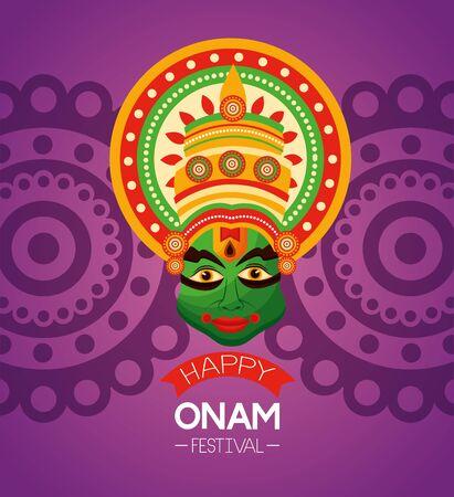 happy onam festival kathakali celebration vector illustration