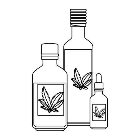 bottles with cannabis extract products vector illustration design Illusztráció
