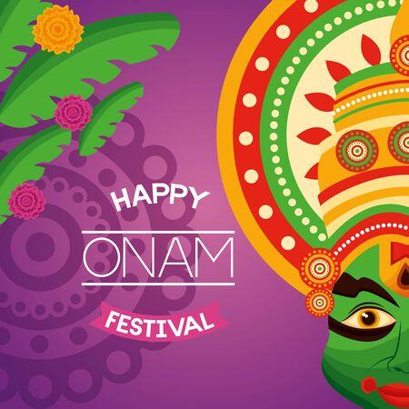 happy onam festival kathakali leaves celebration vector illustration