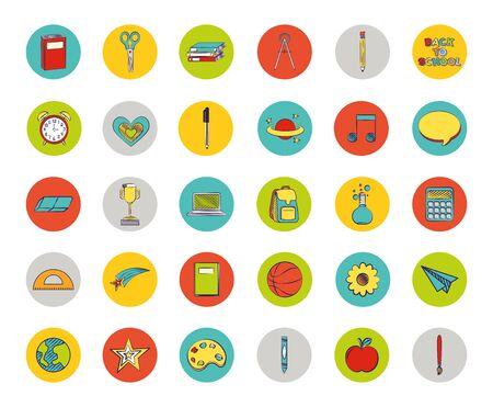 pakiet zestawu kolorowych ikon z powrotem do szkoły wektor ilustracja projektu