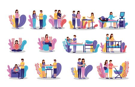pregnancy and maternity scene flat mother father baby doctor set vector illustration