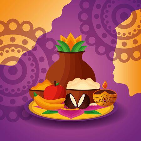 onam festival fruits exotic celebration vector illustration Иллюстрация