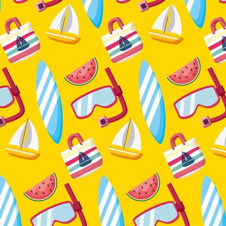 summer time holiday snorkel boat bag fruit background vector illustration