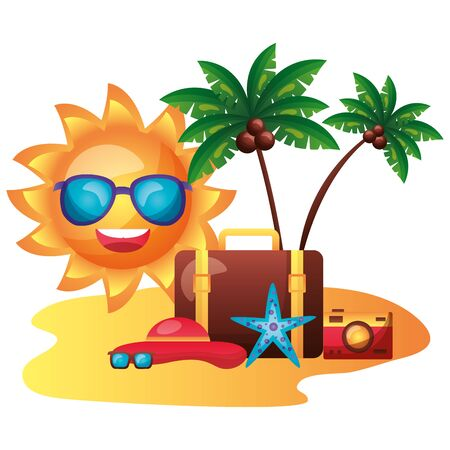 summer time holiday sun character umbrella beach sunbed camera hat sunglasses starfish vector illustration