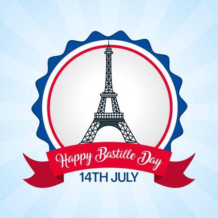 eiffel tower france badge happy bastille day vector illustration Foto de archivo - 130534771