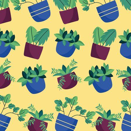decorative house plants green nature background vector illustration