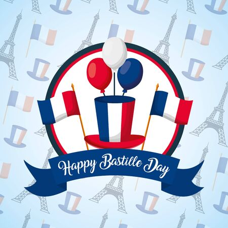 happy bastille day hat balloons flags background vector illustration  イラスト・ベクター素材