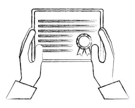 hands holding graduation certificate diploma vector illustration