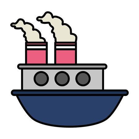 boat sea transport cartoon vector illustration design Ilustracja