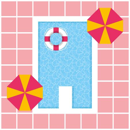top view pool lifebuoy and umbrellas vacations summer time vector illustration 向量圖像