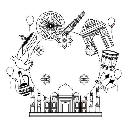 taj mahal indian mosque with set cultural icons vector illustration design Иллюстрация