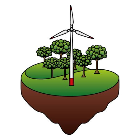 eco friendly wind turbine forest nature vector illustration