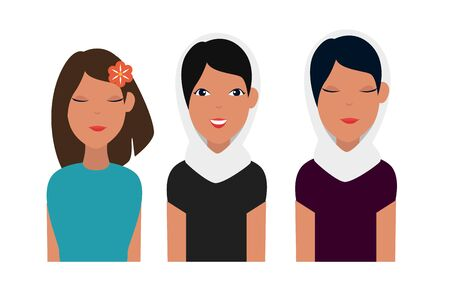 set of fashion women with hairstyle and blouse over white background, vector illustration