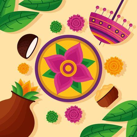 Blumendekoration Feier Kokosnüsse Onam Festival Vector Illustration
