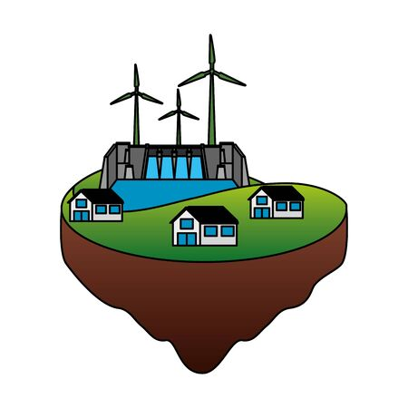eco friendly farm wind turbines development energy vector illustration Ilustração