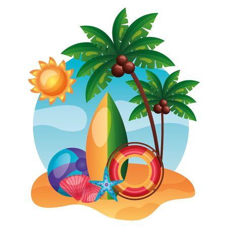summer time holiday lifebuoy beachball starfish shell surfboard vector illustration