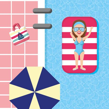 woman with lifebuoy in the pool umbrella bag summer time vector illustration