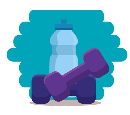 water bottle and dumbbell to sport activity to healthy lifestyle, vector illustration