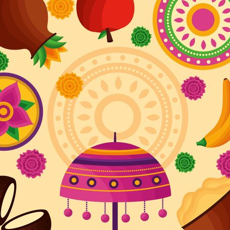 flowers food onam festival decoration hindu celebration vector illustration Ilustração