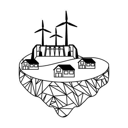 eco friendly farm wind turbines development energy vector illustration 向量圖像