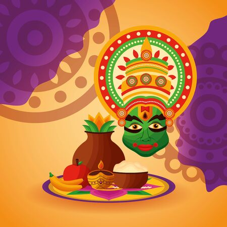 kathakali happy onam festival fruits vector illustration 일러스트