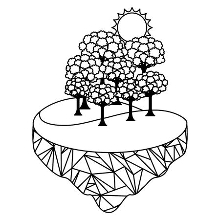 forest trees sun ecology landscape vector illustration